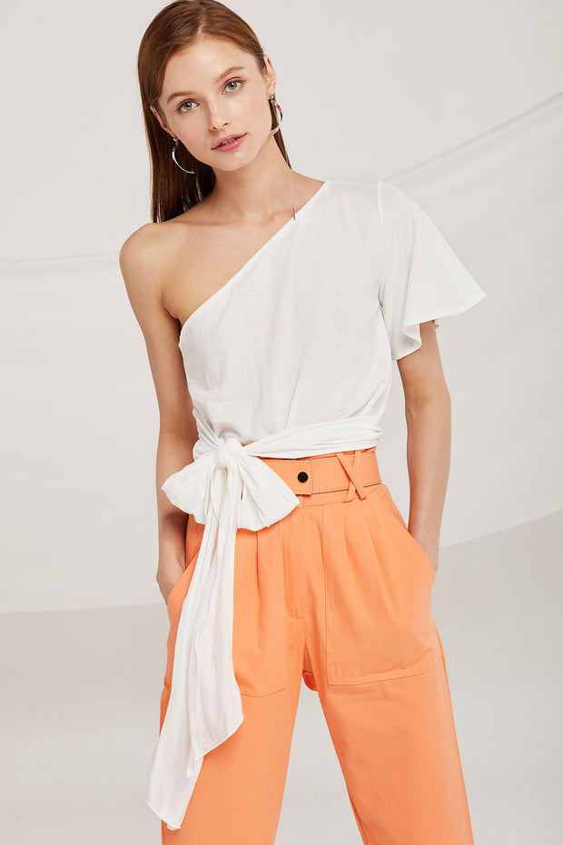 Audrey One Shoulder Tie Top by STORETS