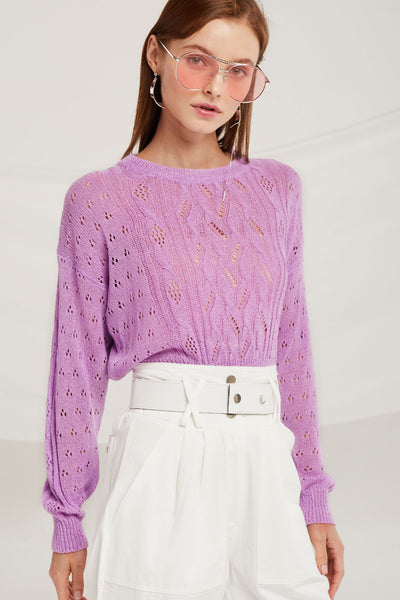 Nevaeh Cropped Cable Sweater by STORETS