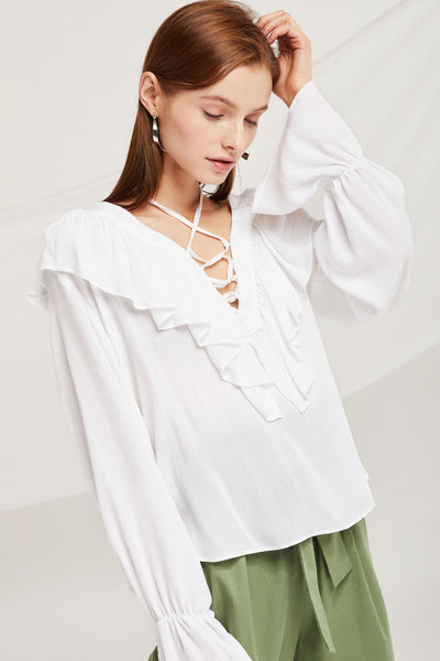 Kinsley Lace Up Plunge Blouse by STORETS