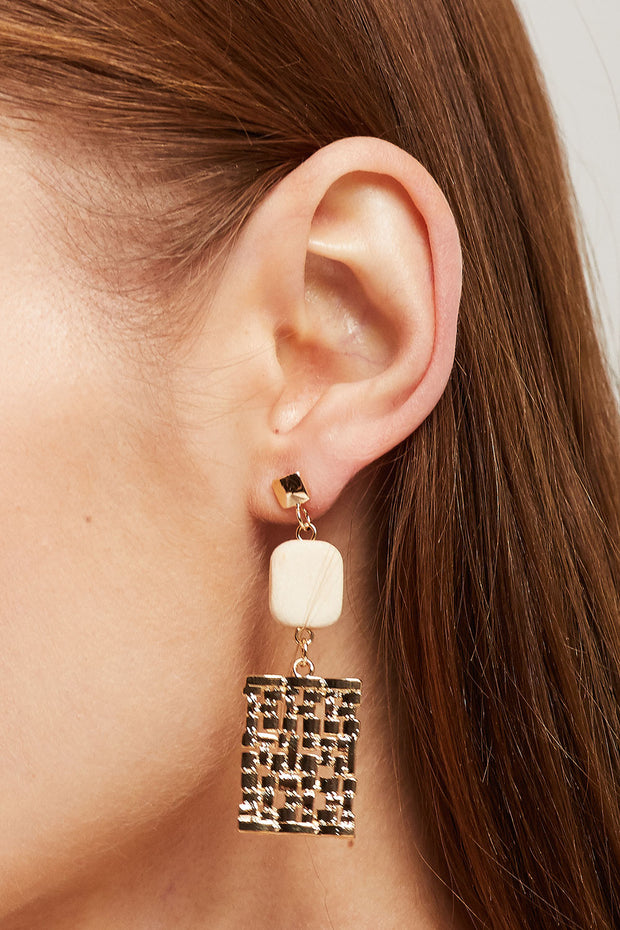 Wood & Gold Dangle Earrings