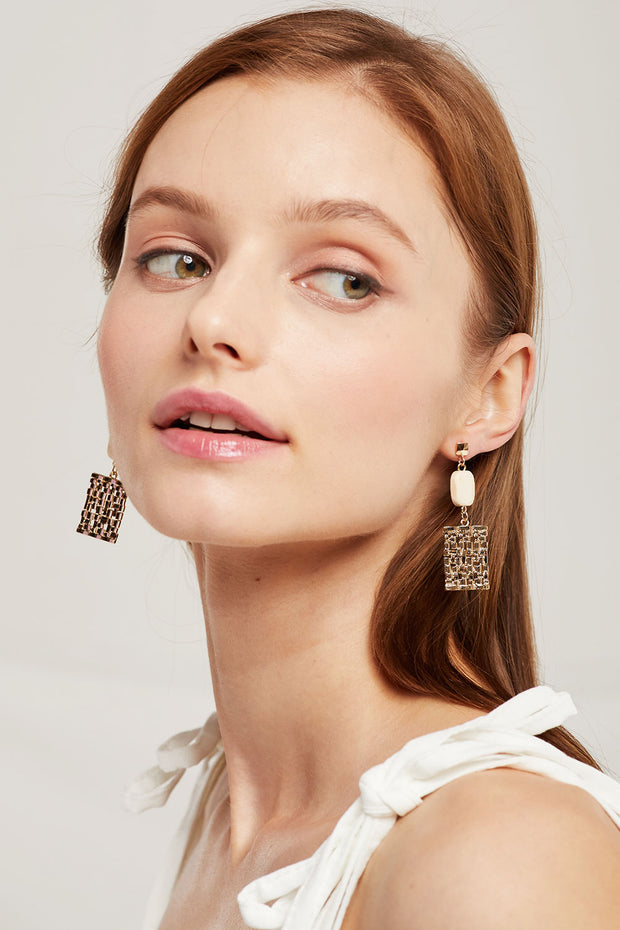 Wood & Gold Dangle Earrings by STORETS