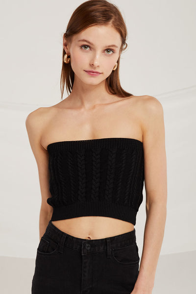 Alice Cable Knit Bandeau Top by STORETS