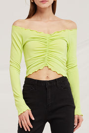 Ruby Ruched Top w/ Wavy Hem by STORETS