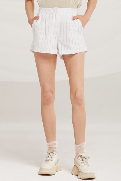 Stella Pinstripe Linen Shorts by STORETS