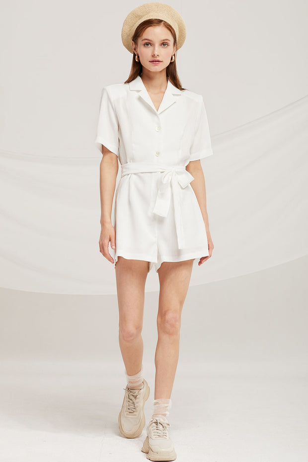 Grace Notch Collar Romper by STORETS