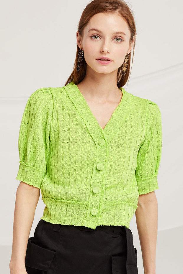 Mackenzie Puff Sleeve Crop Cardigan by STORETS