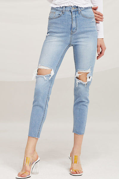 Ivy Cutout Thigh Skinny Jeans by STORETS