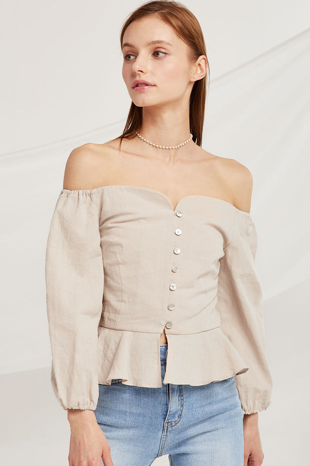 Caroline Off Shoulder Peplum Top by STORETS