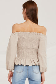 Caroline Off Shoulder Peplum Top
