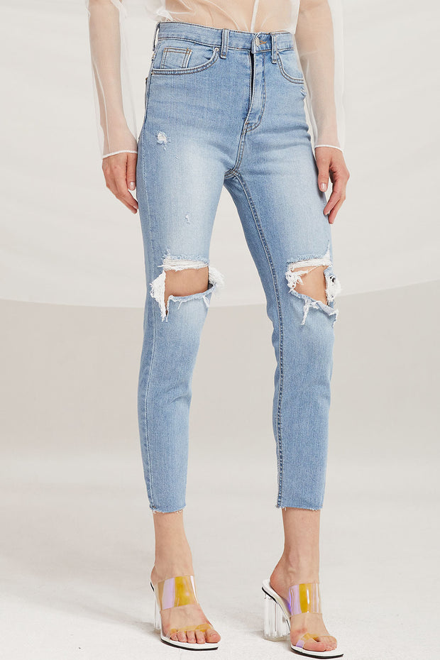 Ivy Cutout Thigh Skinny Jeans