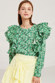 Delilah Floral Ruffle Blouse by STORETS