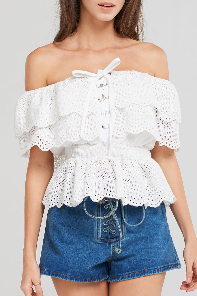 Off Shoulder Lace Eyelet Blouse