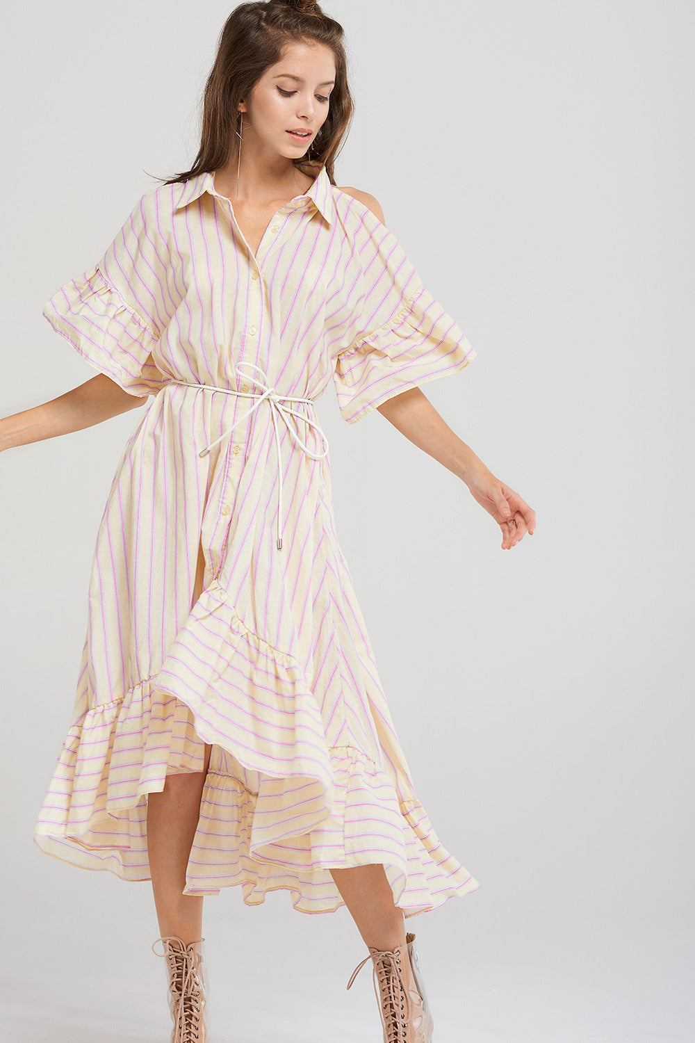 Andrea Stripe Cold Shoulder Dress