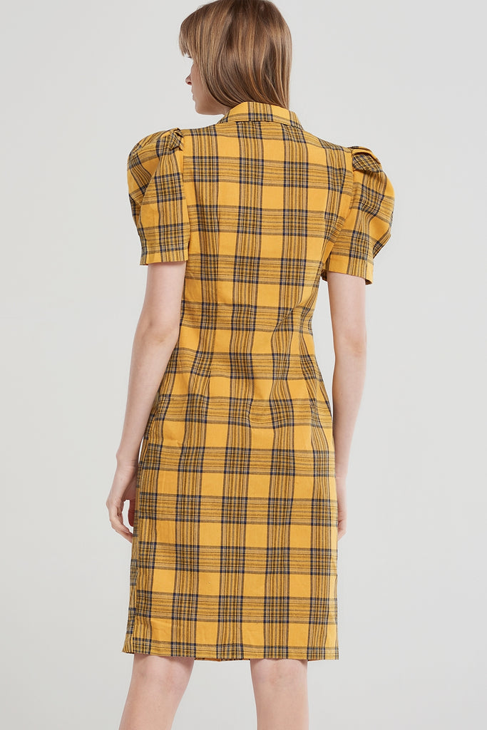Sadie Check Buttoned Dress