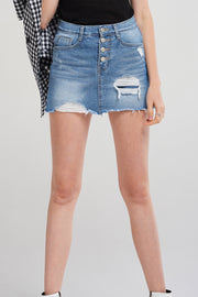 Leslie Frayed Denim Skort