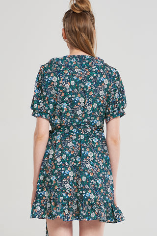 Midnight Flower Wrap Dress