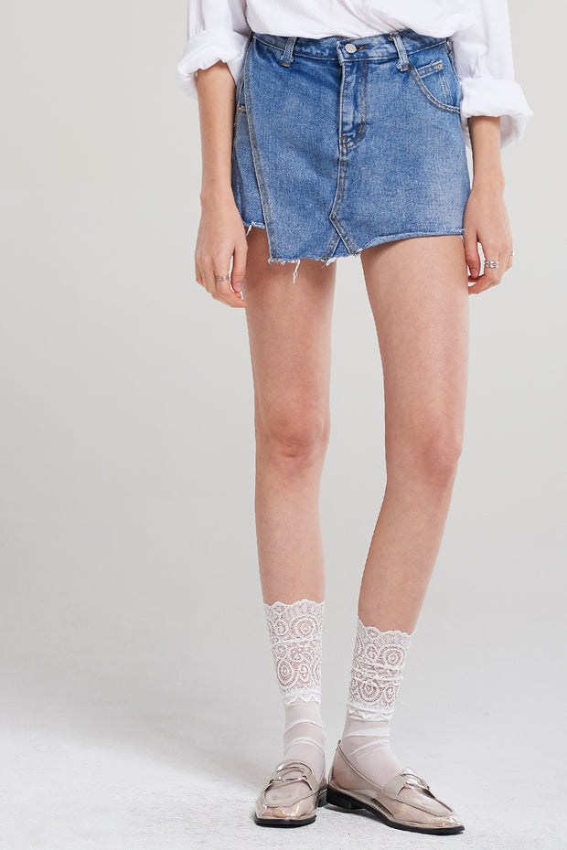 Cherry Double Denim Shorts
