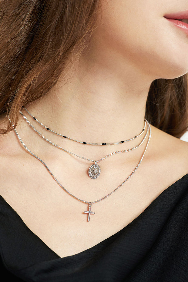 Coin & Cross Layered Necklace by STORETS