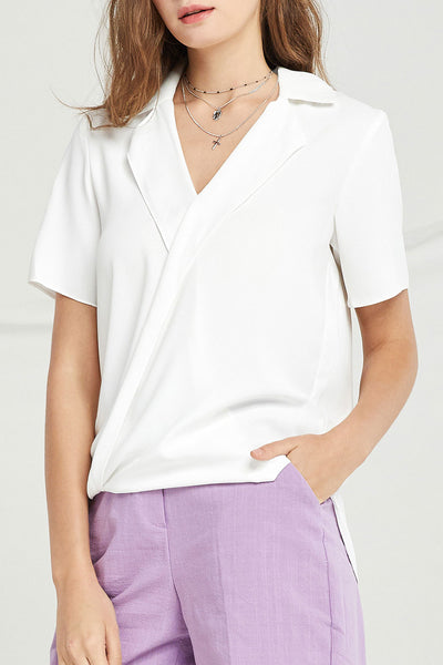 Ryleigh Draped Plunge Shirt by STORETS