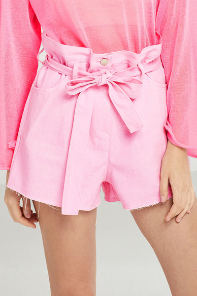 Leila Raw-Edge Belted Shorts by STORETS