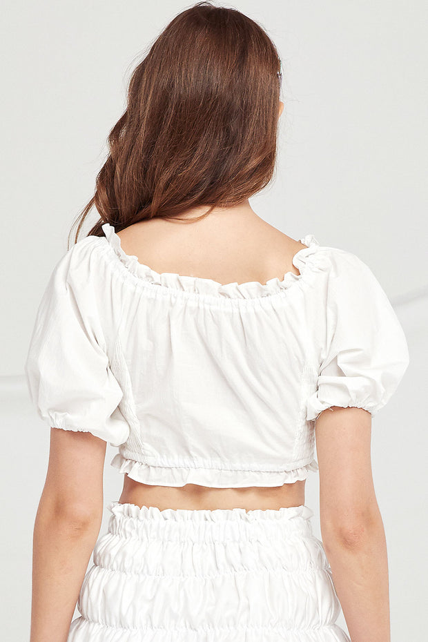 Charlie Frilled Smocked Crop Top