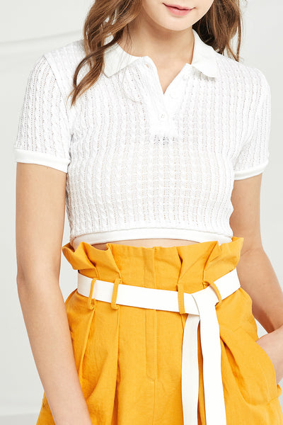 Laila Cable Knit Crop Shirt by STORETS