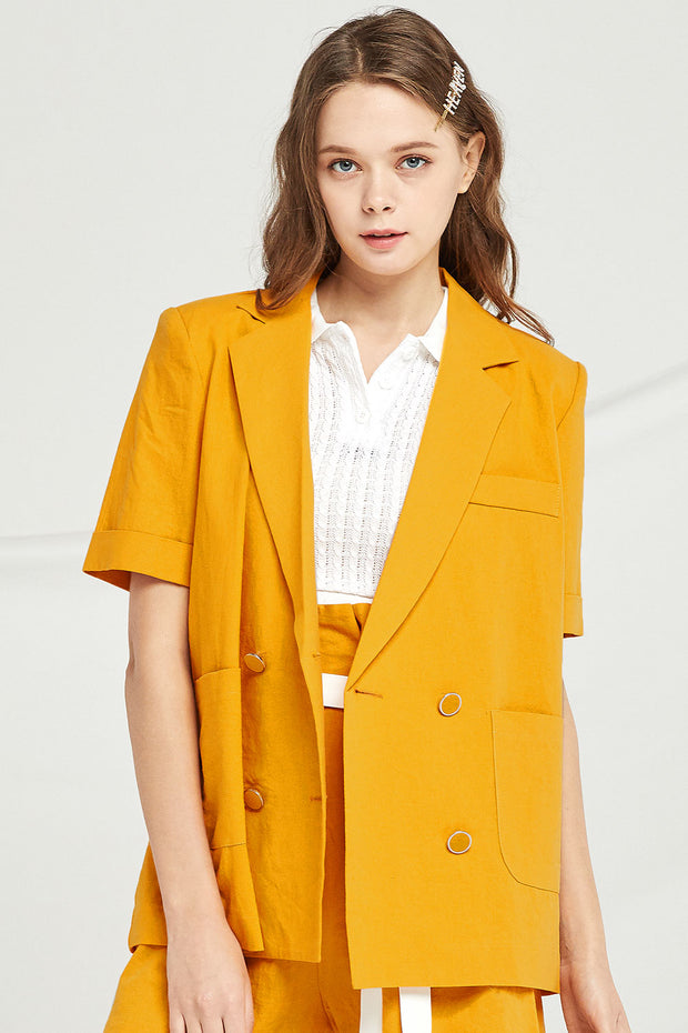 Mckenna Double Breasted Linen Jacket