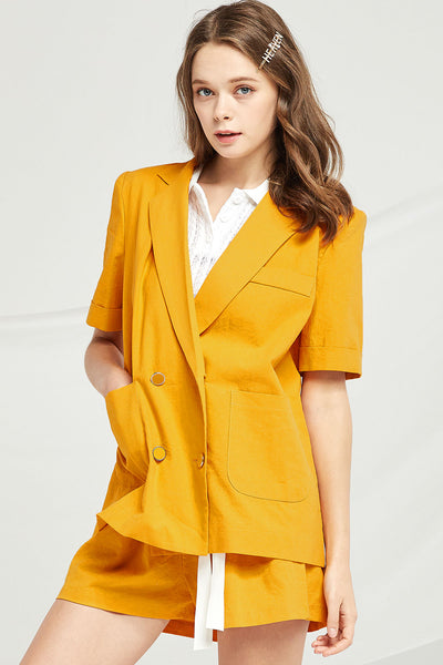 Mckenna Double Breasted Linen Jacket by STORETS