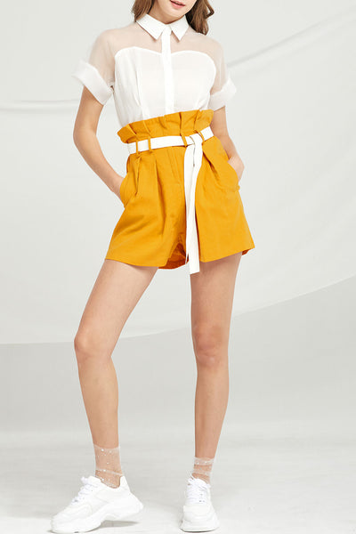 Mckenna Paperbag Waist Shorts w/ Belt by STORETS