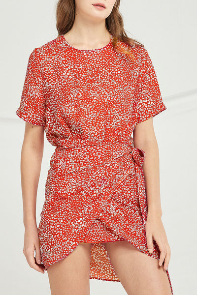 Angela Floral Wrap Mini Dress