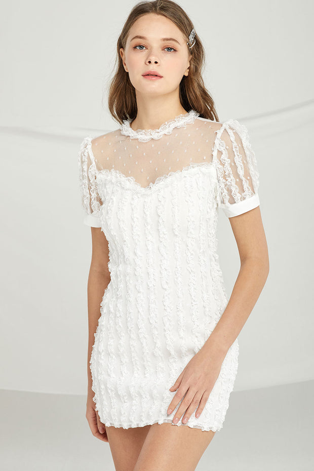 storets.com Selena Frilled Dress w/ Mesh Yoke