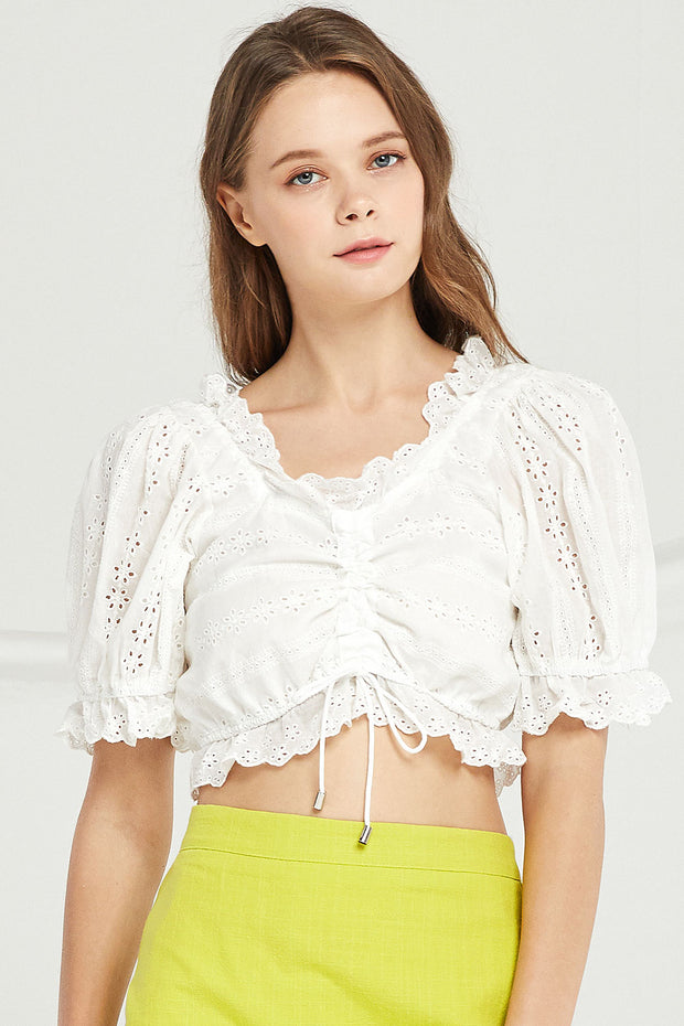 Fiona Eyelet Lace Crop Blouse by STORETS