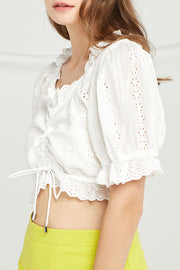 Fiona Eyelet Lace Crop Blouse