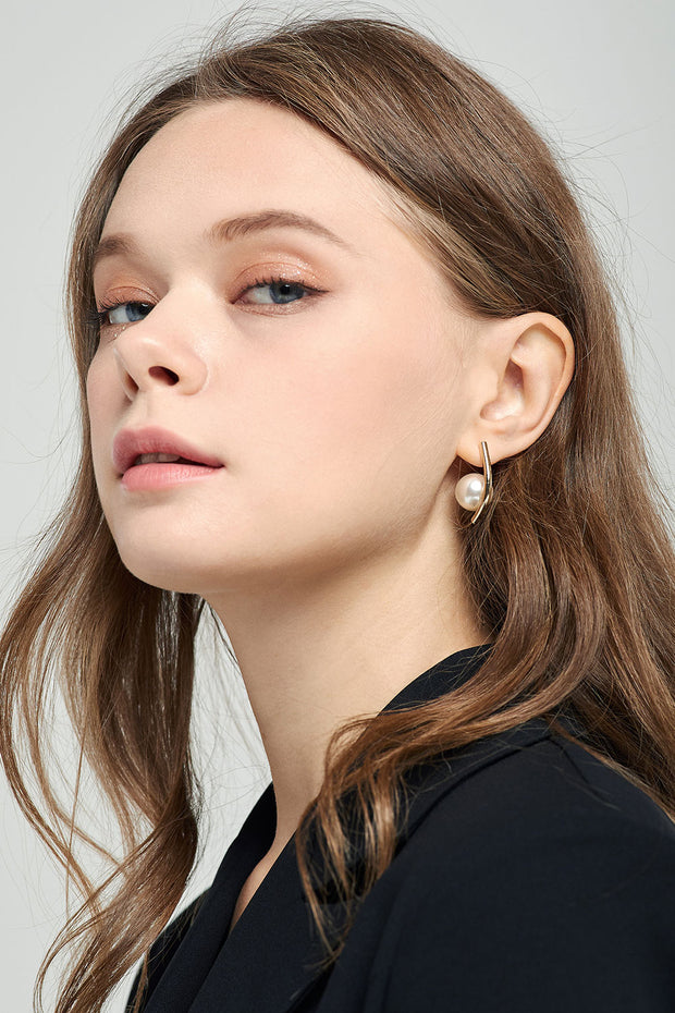 Pearl Hoop Earrings by STORETS