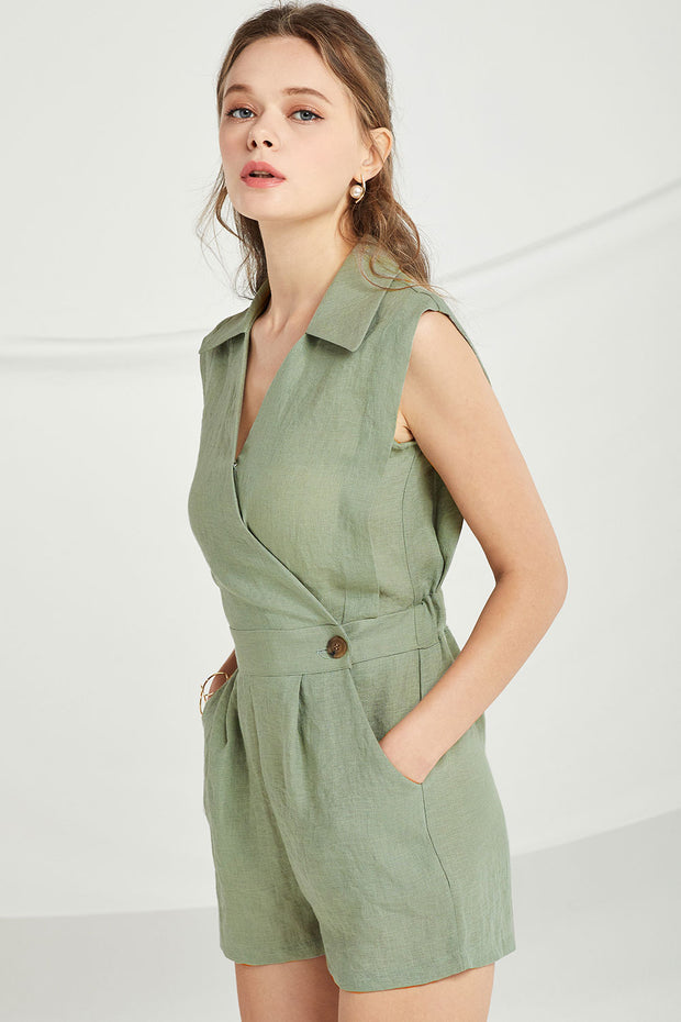 Adalynn Sleeveless Wrap Romper