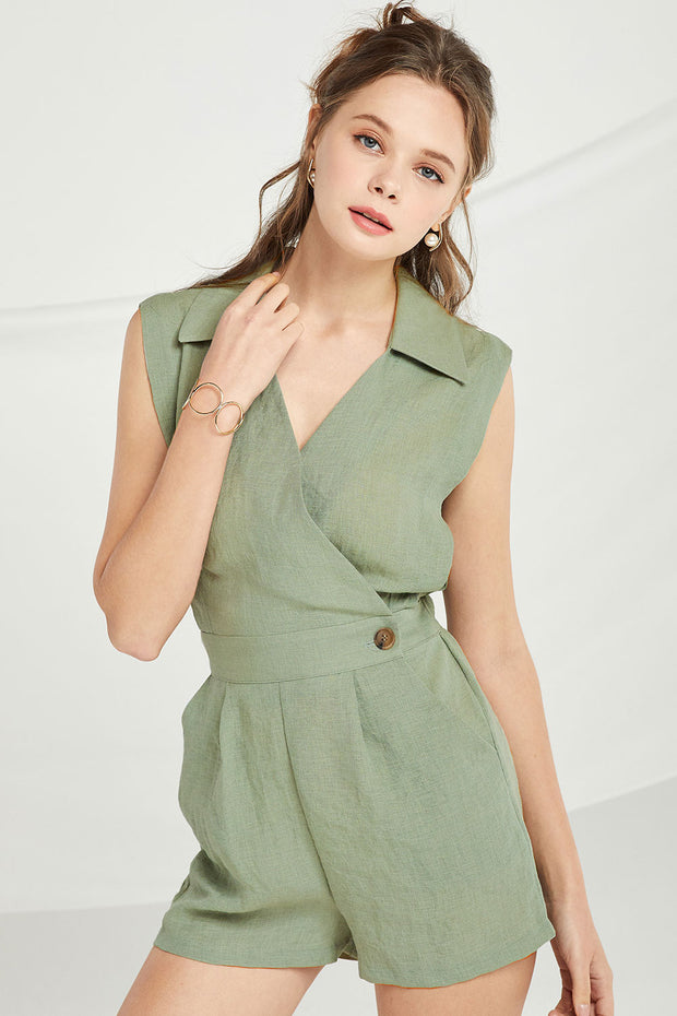 Adalynn Sleeveless Wrap Romper by STORETS