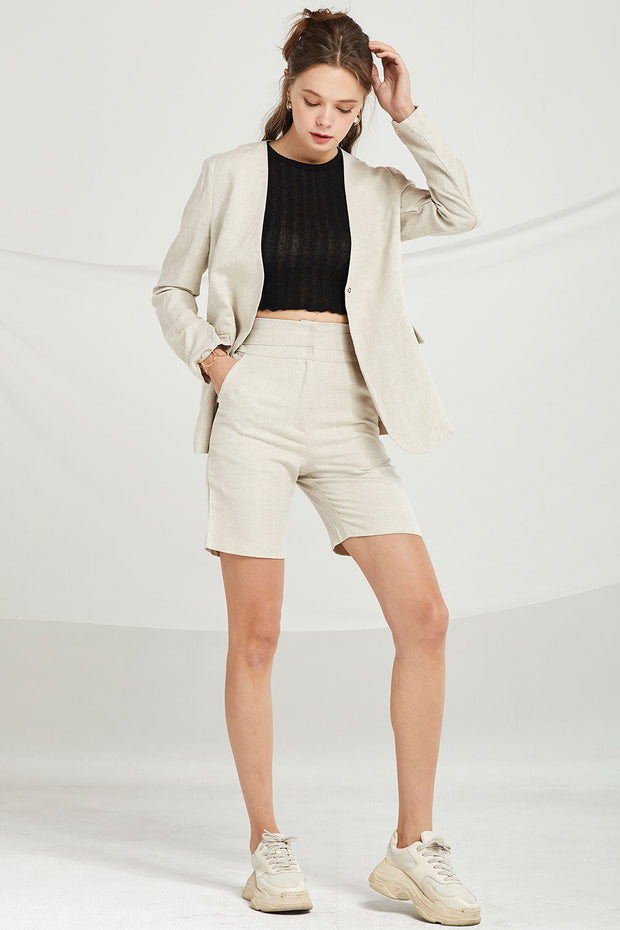 Remi Collarless Linen Jacket by STORETS