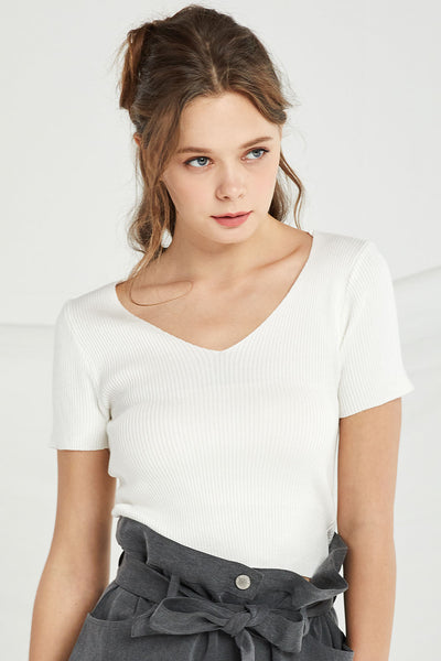 Anastasia V Neck Rib-Knit Top by STORETS