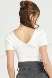 Anastasia V Neck Rib-Knit Top