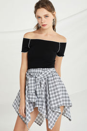 Adaline Off Shoulder Top w/ Contrast Trim