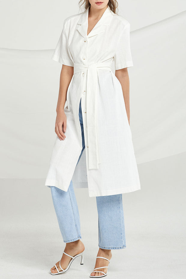 Taylor Button-Up Long Dress w/ Belt