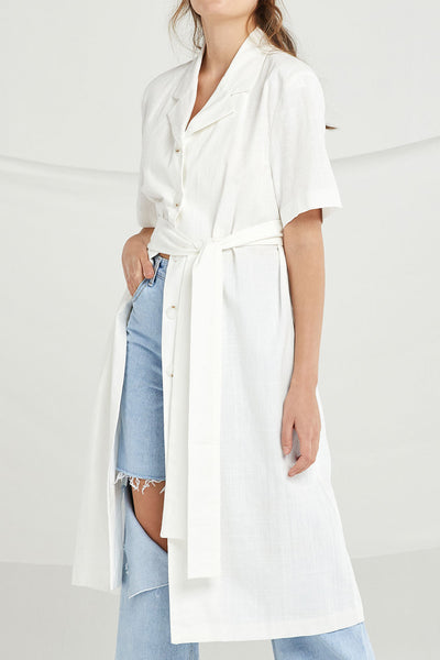 Taylor Button-Up Long Dress w/ Belt by STORETS