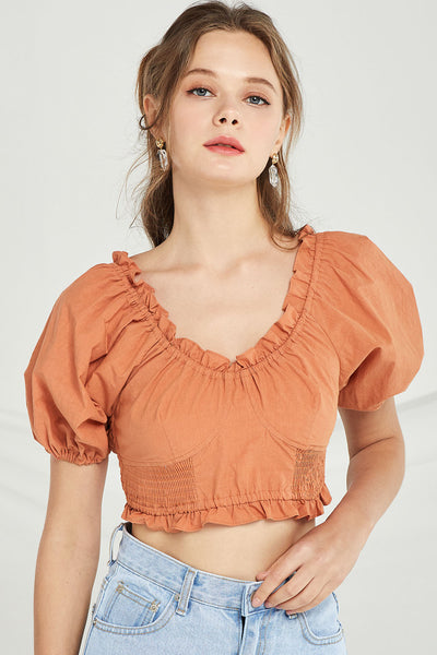 Charlie Frilled Smocked Crop Top by STORETS