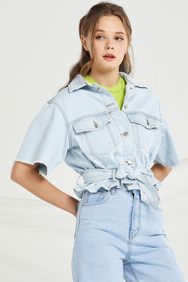 Camille Crop Denim Jacket by STORETS