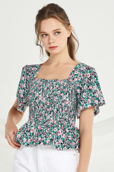 Lilly Floral Smocked Top by STORETS