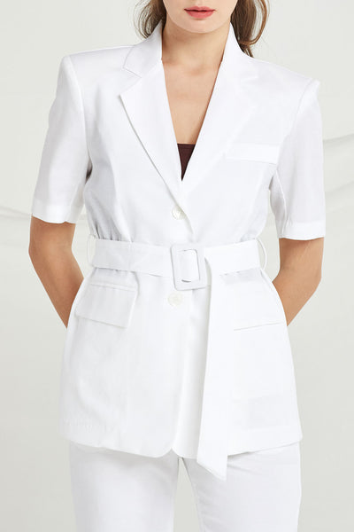 Payton Single Breasted Linen Jacket by STORETS