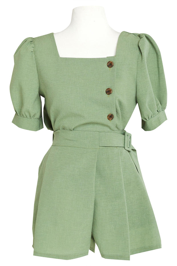 Emery Puff Sleeve Blouse And Shorts Set