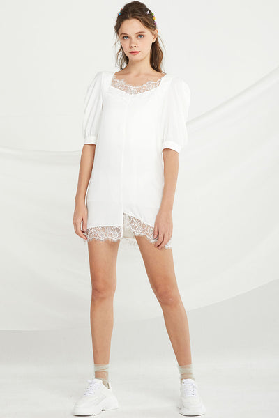 Brianna Lace Trim Shift Dress by STORETS