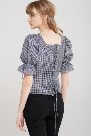 April Button Up Puff Top