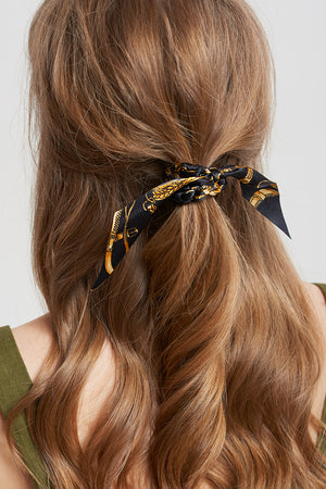 Black Gold Bandana Scrunchie